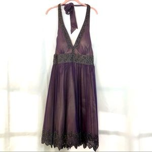 Papell Purple lined with gold beaded halter dress